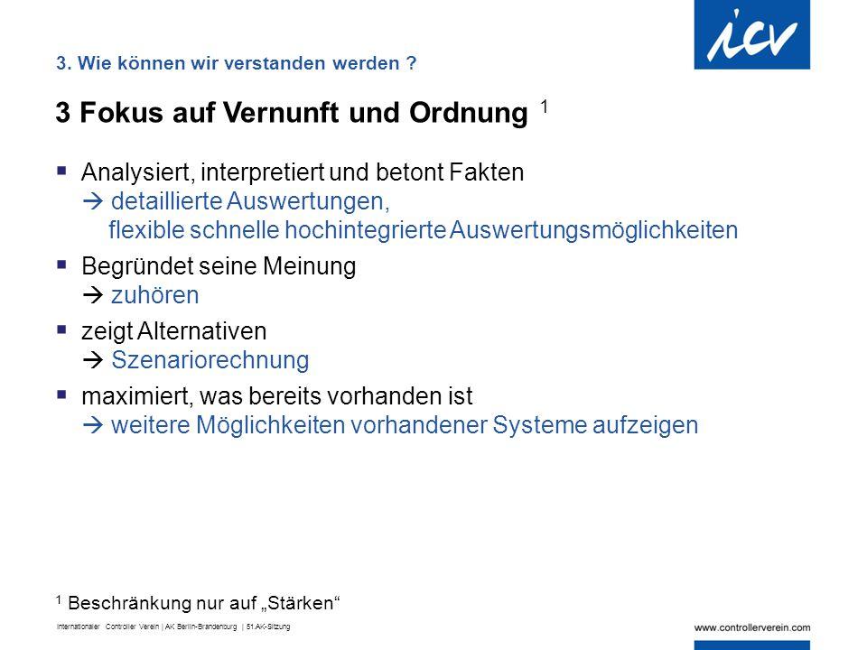 Internationaler Controller Verein | AK Berlin-Brandenburg | 51.AK-Sitzung 3 Fokus auf Vernunft und Ordnung 1  Analysiert, interpretiert und betont Fa