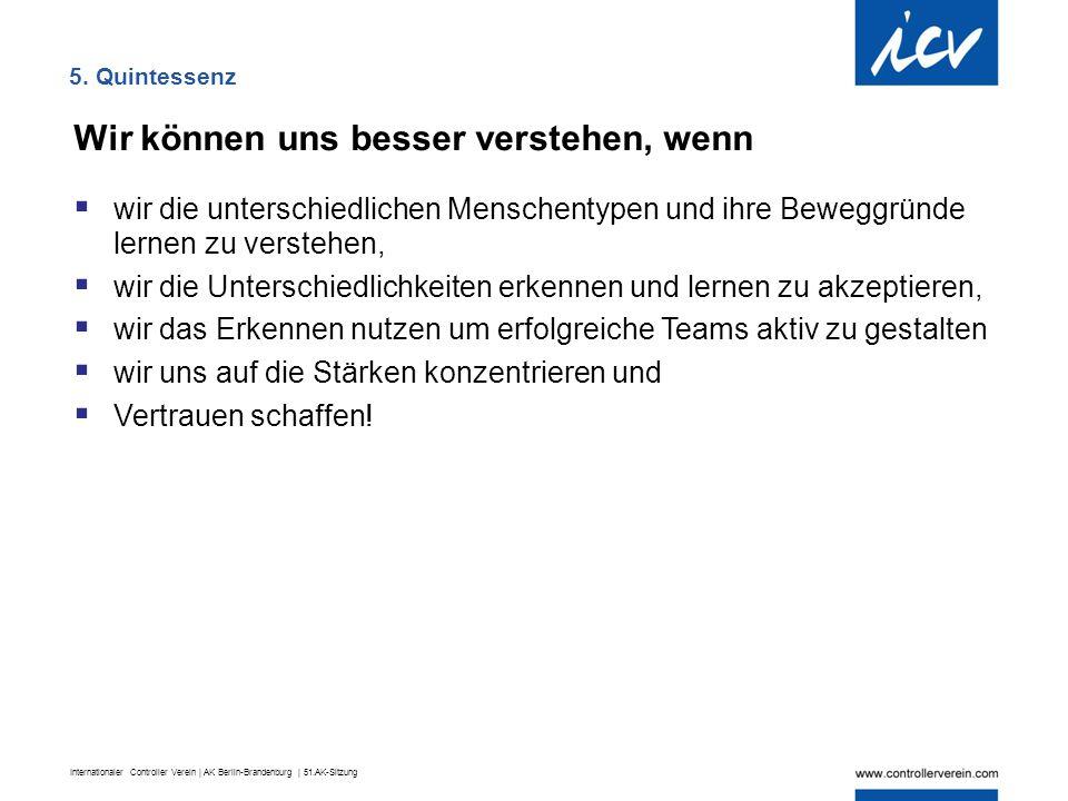 Internationaler Controller Verein | AK Berlin-Brandenburg | 51.AK-Sitzung 5. Quintessenz Wir können uns besser verstehen, wenn  wir die unterschiedli