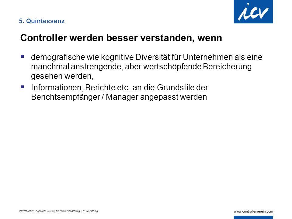 Internationaler Controller Verein | AK Berlin-Brandenburg | 51.AK-Sitzung 5. Quintessenz Controller werden besser verstanden, wenn  demografische wie