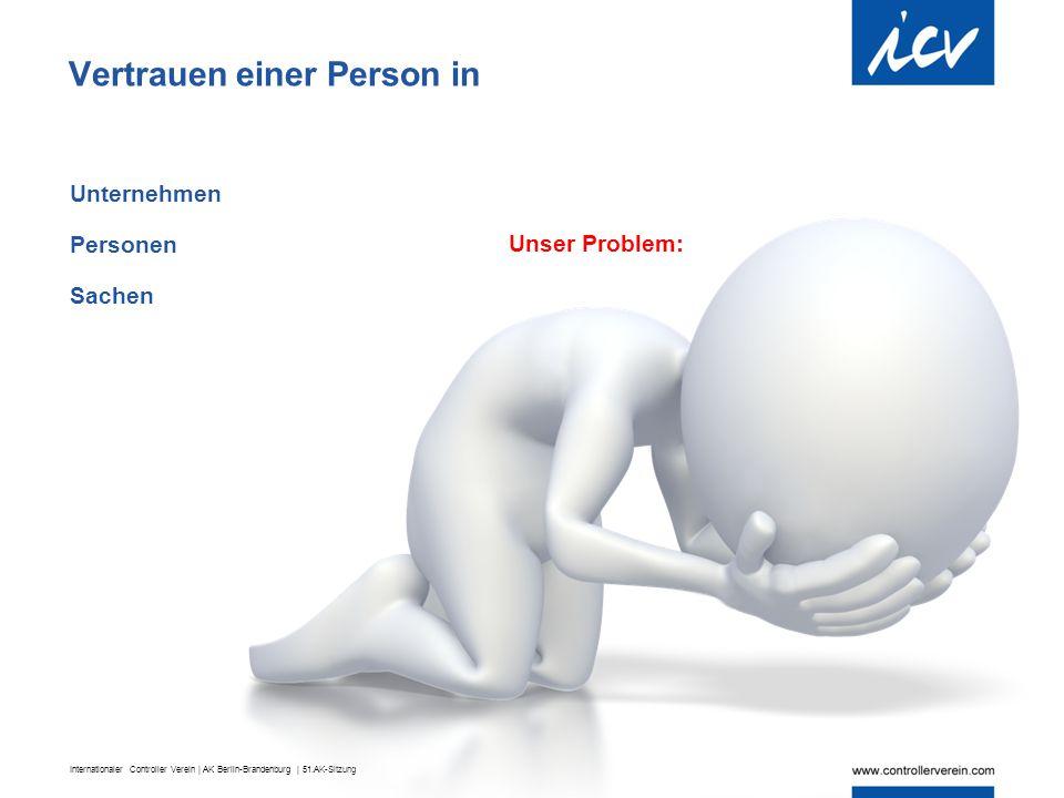 Internationaler Controller Verein | AK Berlin-Brandenburg | 51.AK-Sitzung Vertrauen einer Person in Unternehmen Personen Sachen Unser Problem: