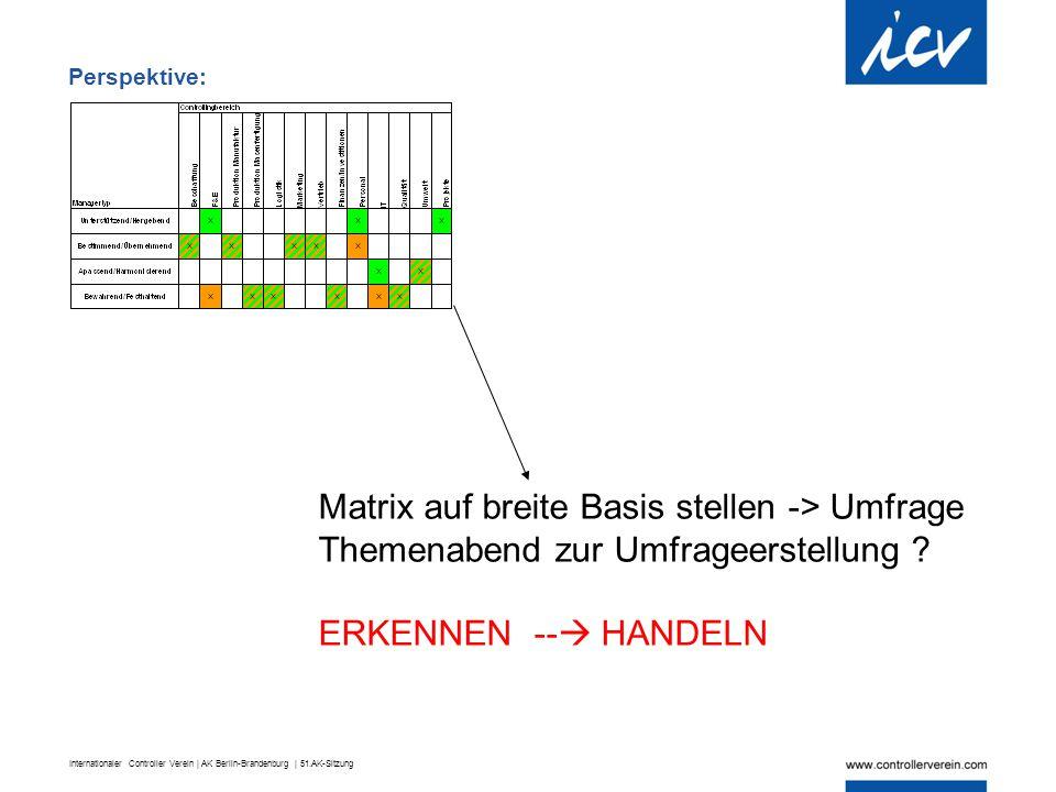 Internationaler Controller Verein | AK Berlin-Brandenburg | 51.AK-Sitzung Perspektive: Matrix auf breite Basis stellen -> Umfrage Themenabend zur Umfr