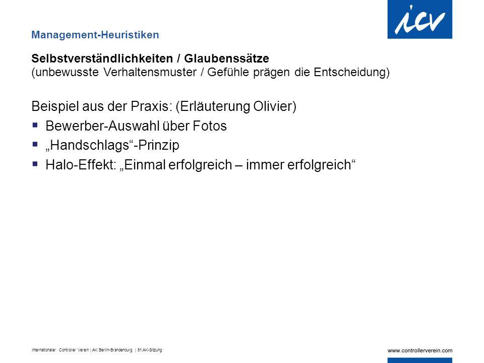 Internationaler Controller Verein | AK Berlin-Brandenburg | 51.AK-Sitzung Selbstverständlichkeiten / Glaubenssätze (unbewusste Verhaltensmuster / Gefü