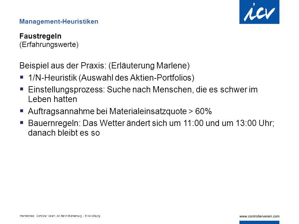 Internationaler Controller Verein | AK Berlin-Brandenburg | 51.AK-Sitzung Faustregeln (Erfahrungswerte) Beispiel aus der Praxis: (Erläuterung Marlene)