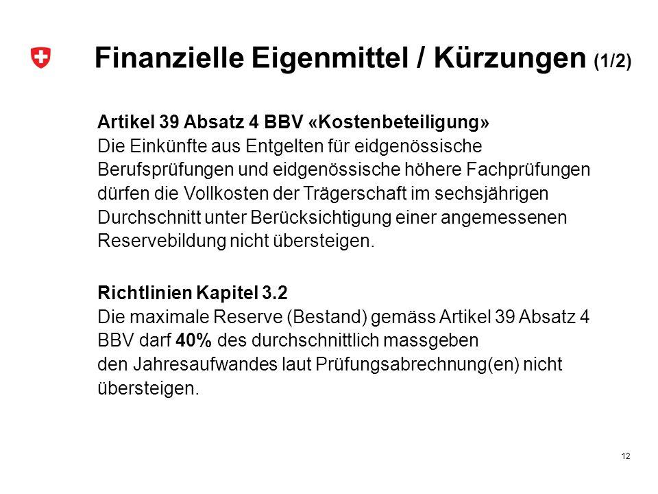 Finanzielle Eigenmittel / Kürzungen (1/2) Artikel 39 Absatz 4 BBV «Kostenbeteiligung» Die Einkünfte aus Entgelten für eidgenössische Berufsprüfungen u