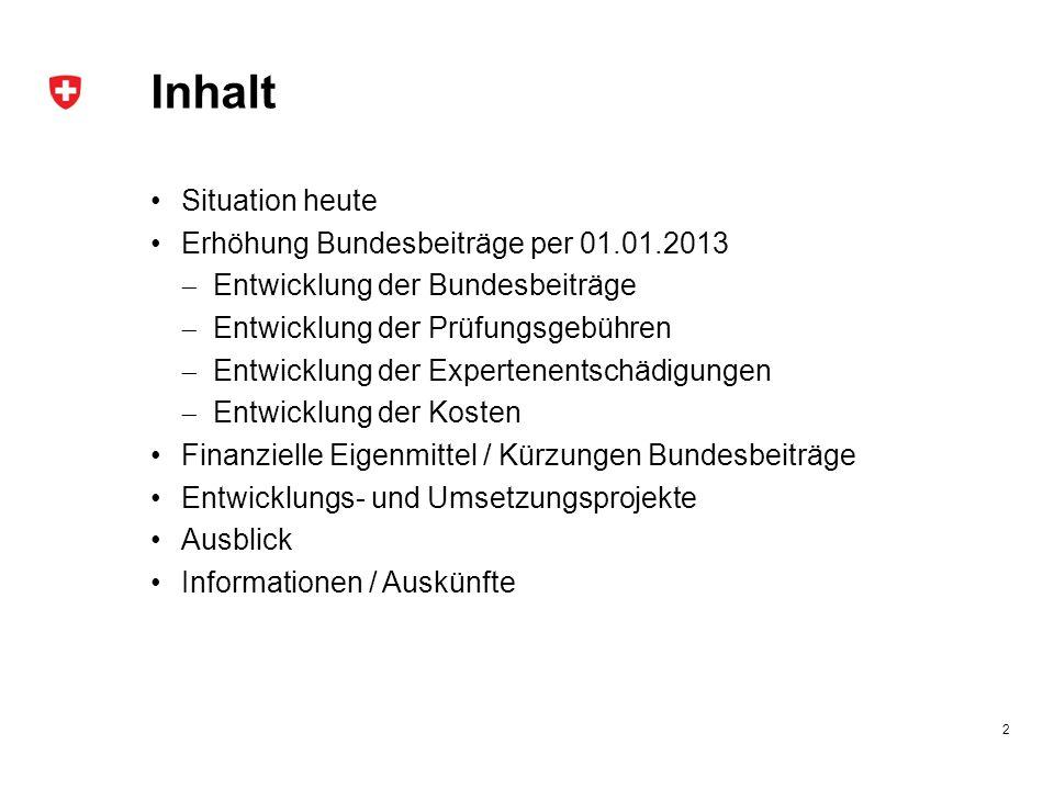 Finanzielle Eigenmittel / Kürzungen (2/2) Prüfungen 2013 Kürzungen von rund CHF 10 Mio.