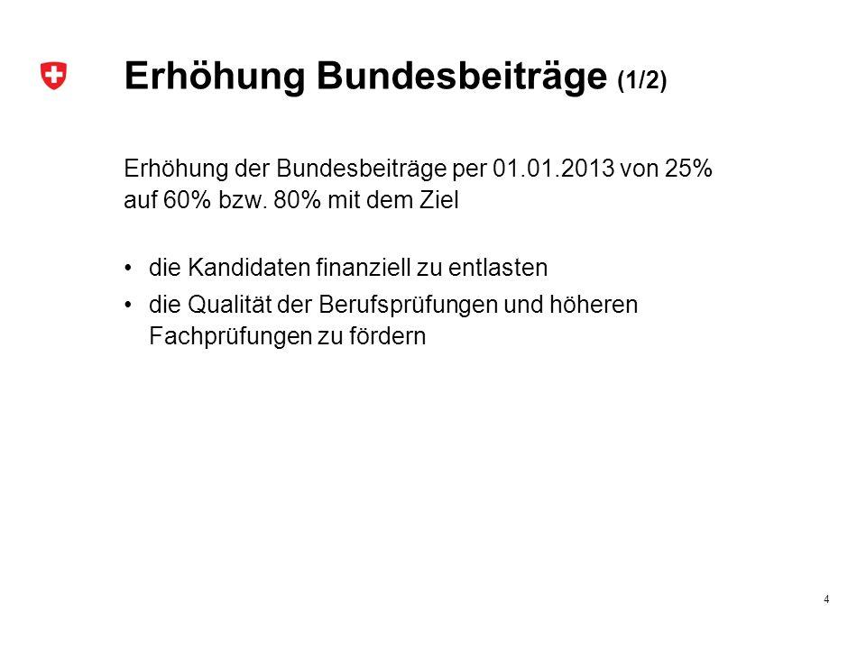 Erhöhung Bundesbeiträge (1/2) Erhöhung der Bundesbeiträge per 01.01.2013 von 25% auf 60% bzw. 80% mit dem Ziel die Kandidaten finanziell zu entlasten