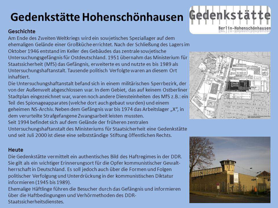 Gedenkstätte Hohenschönhausen Geschichte Am Ende des Zweiten Weltkriegs wird ein sowjetisches Speziallager auf dem ehemaligen Gelände einer Großküche errichtet.