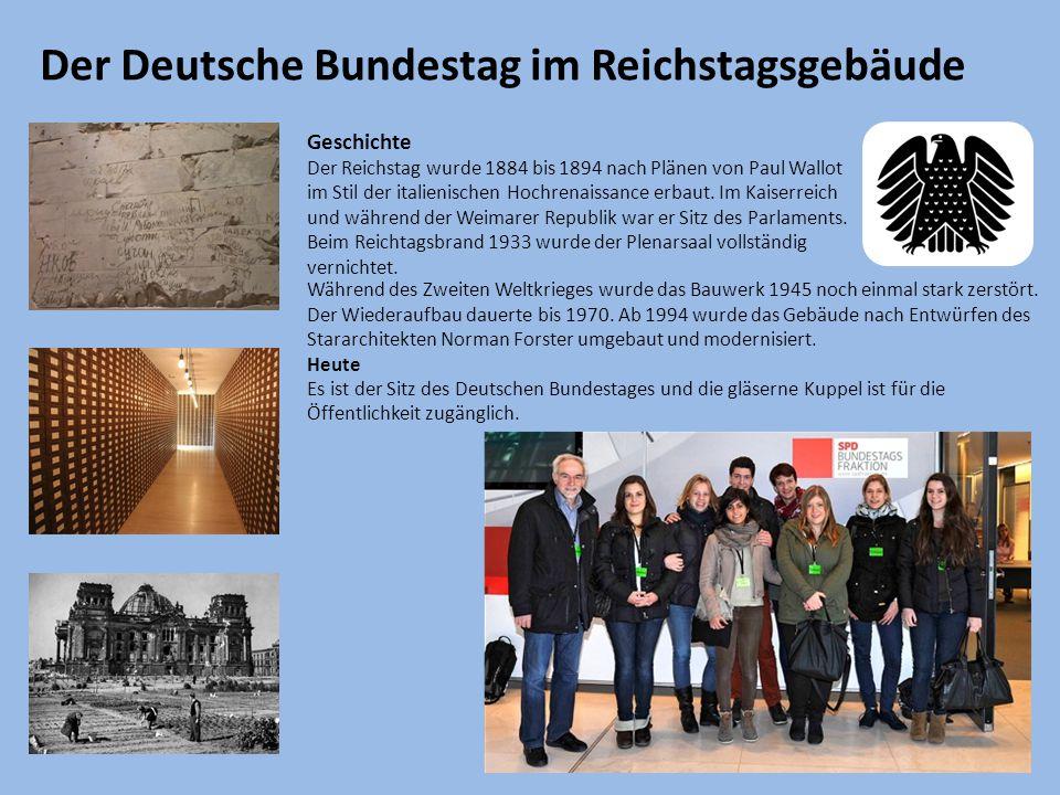 Der Deutsche Bundestag im Reichstagsgebäude Geschichte Der Reichstag wurde 1884 bis 1894 nach Plänen von Paul Wallot im Stil der italienischen Hochrenaissance erbaut.