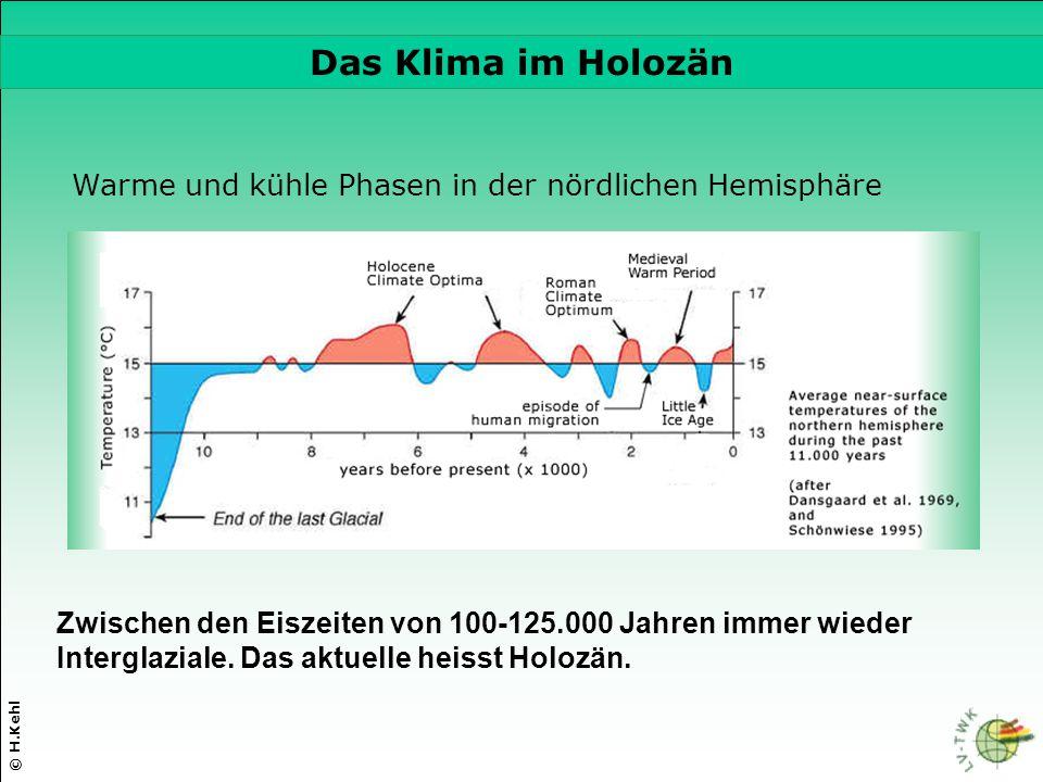 © H.Kehl Die drei wichtigsten Parameter Warme und kühle Phasen in der nördlichen Hemisphäre Zwischen den Eiszeiten von 100-125.000 Jahren immer wieder