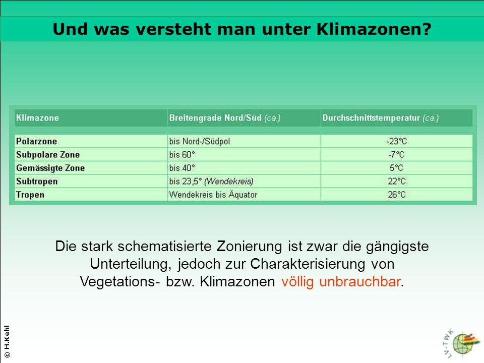 © H.Kehl Die drei wichtigsten Parameter Die stark schematisierte Zonierung ist zwar die gängigste Unterteilung, jedoch zur Charakterisierung von Veget