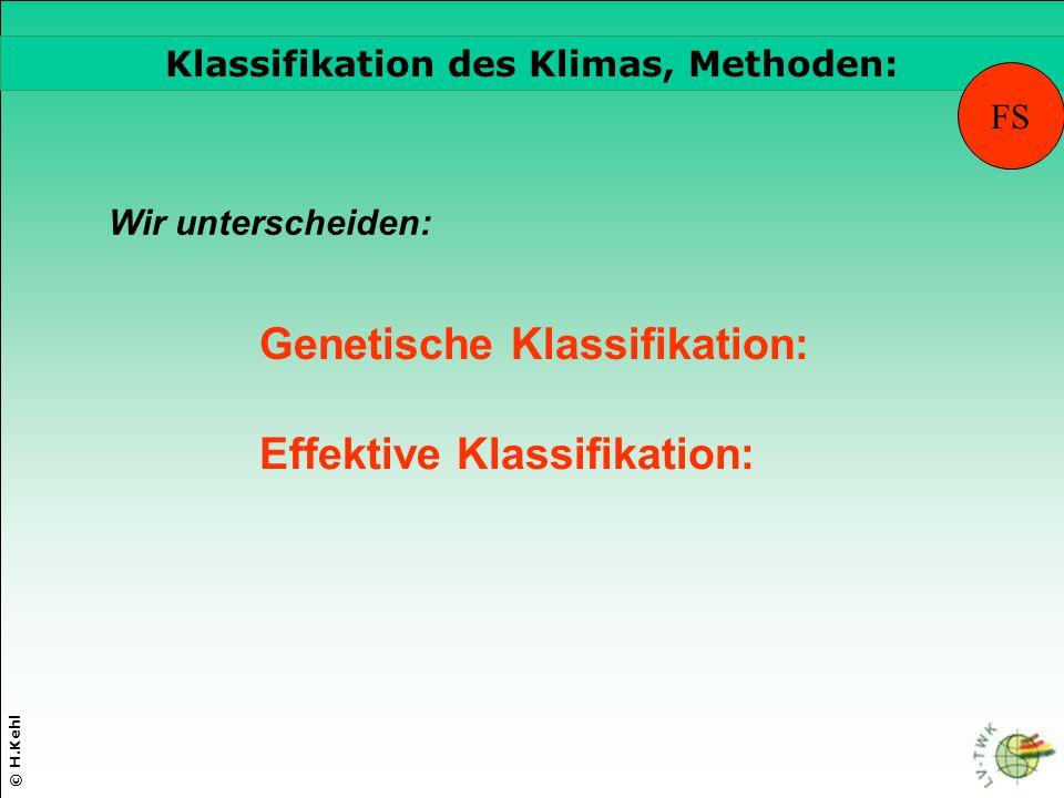 © H.Kehl Die drei wichtigsten Parameter Genetische Klassifikation: Klassifikation des Klimas, Methoden: Effektive Klassifikation: FS Wir unterscheiden