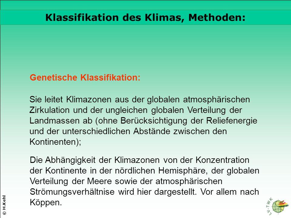 © H.Kehl Die drei wichtigsten Parameter Genetische Klassifikation: Klassifikation des Klimas, Methoden: Sie leitet Klimazonen aus der globalen atmosph