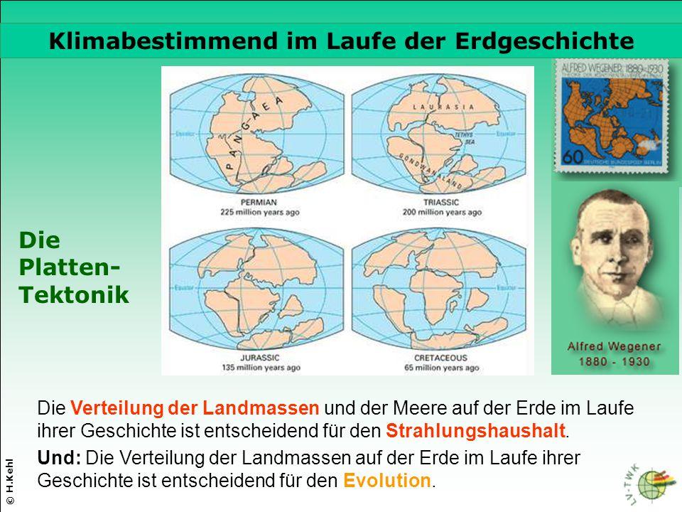 Die Verteilung der Landmassen und der Meere auf der Erde im Laufe ihrer Geschichte ist entscheidend für den Strahlungshaushalt. © H.Kehl Die Platten-