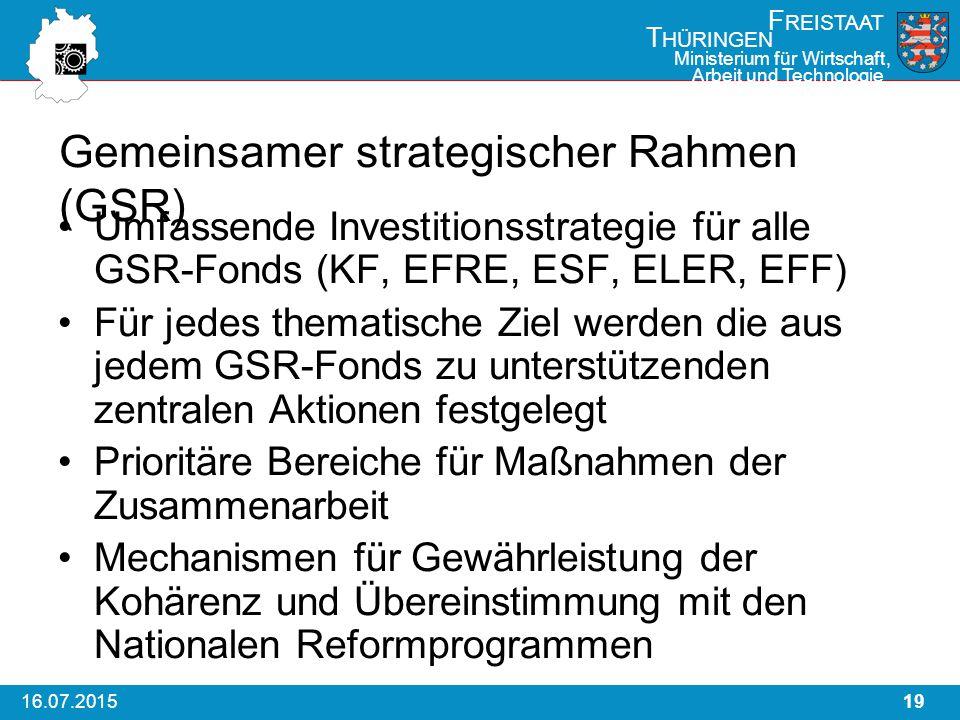 1916.07.2015 F REISTAAT T HÜRINGEN Ministerium für Wirtschaft, Arbeit und Technologie Gemeinsamer strategischer Rahmen (GSR) Umfassende Investitionsstrategie für alle GSR-Fonds (KF, EFRE, ESF, ELER, EFF) Für jedes thematische Ziel werden die aus jedem GSR-Fonds zu unterstützenden zentralen Aktionen festgelegt Prioritäre Bereiche für Maßnahmen der Zusammenarbeit Mechanismen für Gewährleistung der Kohärenz und Übereinstimmung mit den Nationalen Reformprogrammen