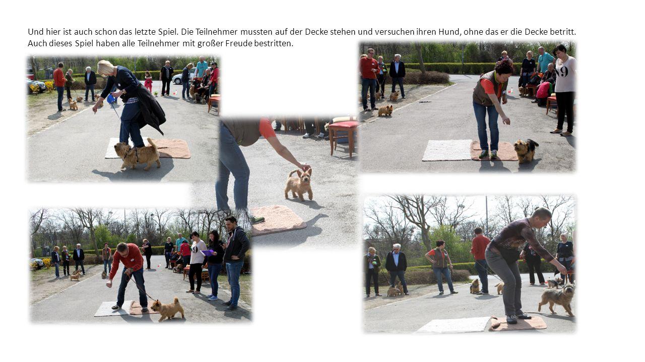 Und hier ist auch schon das letzte Spiel. Die Teilnehmer mussten auf der Decke stehen und versuchen ihren Hund, ohne das er die Decke betritt. Auch di