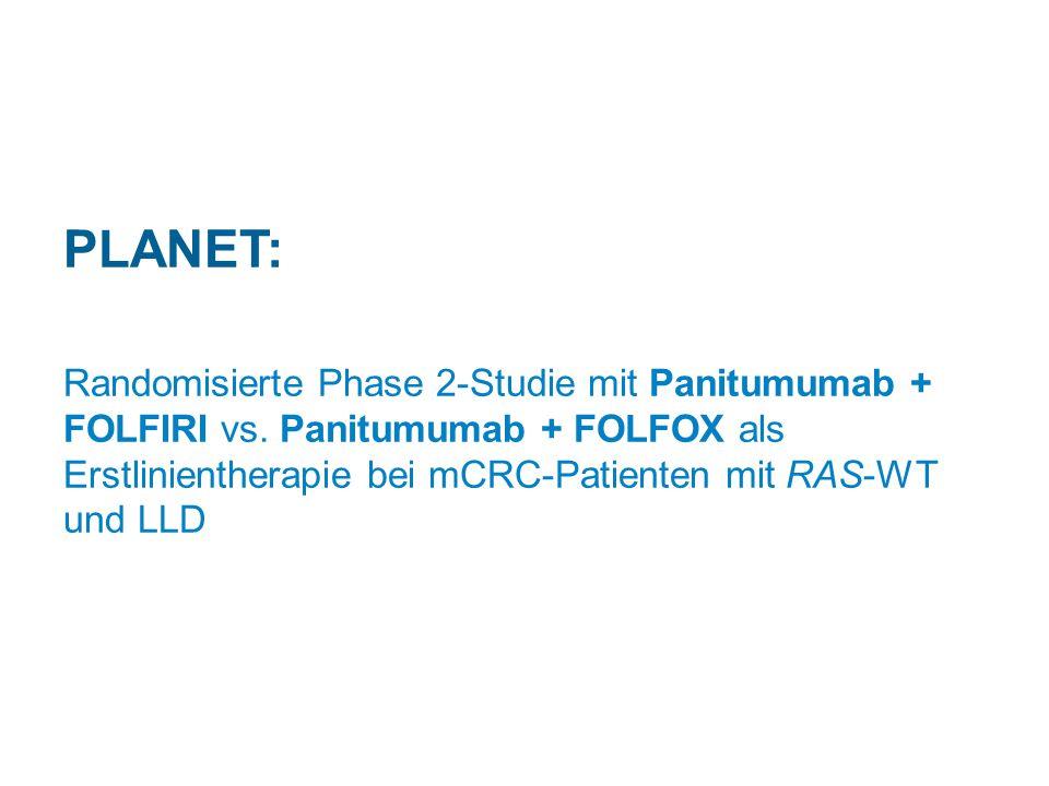 PLANET: Randomisierte Phase 2-Studie mit Panitumumab + FOLFIRI vs. Panitumumab + FOLFOX als Erstlinientherapie bei mCRC-Patienten mit RAS-WT und LLD