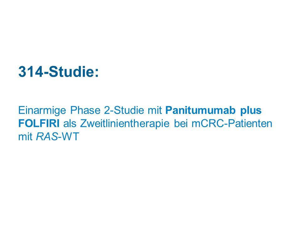 314-Studie: Einarmige Phase 2-Studie mit Panitumumab plus FOLFIRI als Zweitlinientherapie bei mCRC-Patienten mit RAS-WT