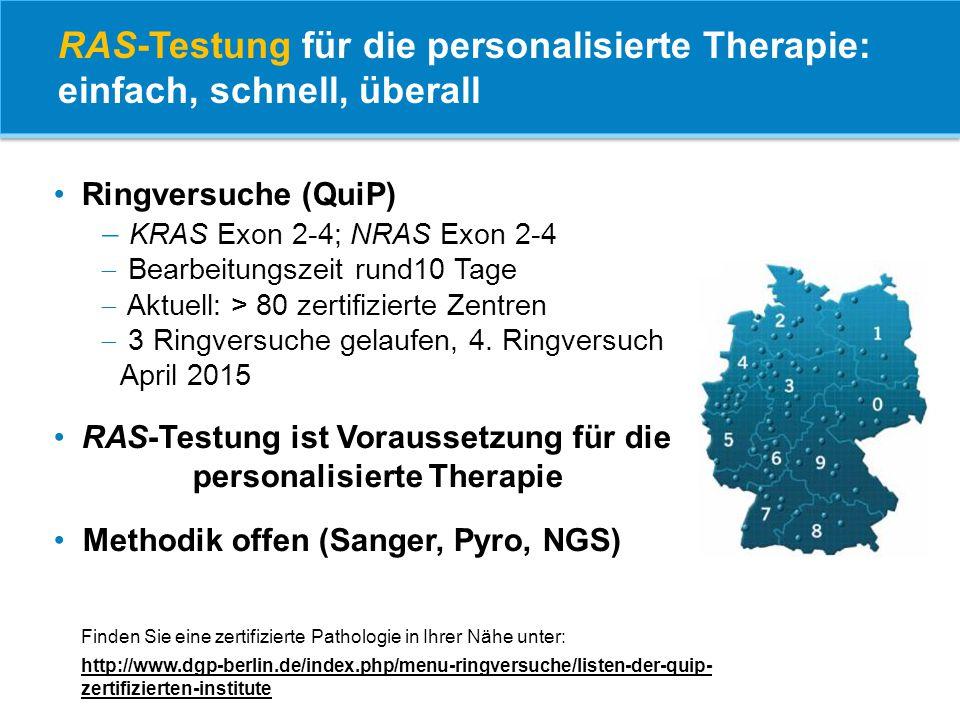 Ringversuche (QuiP)  KRAS Exon 2-4; NRAS Exon 2-4  Bearbeitungszeit rund10 Tage  Aktuell: > 80 zertifizierte Zentren  3 Ringversuche gelaufen, 4.