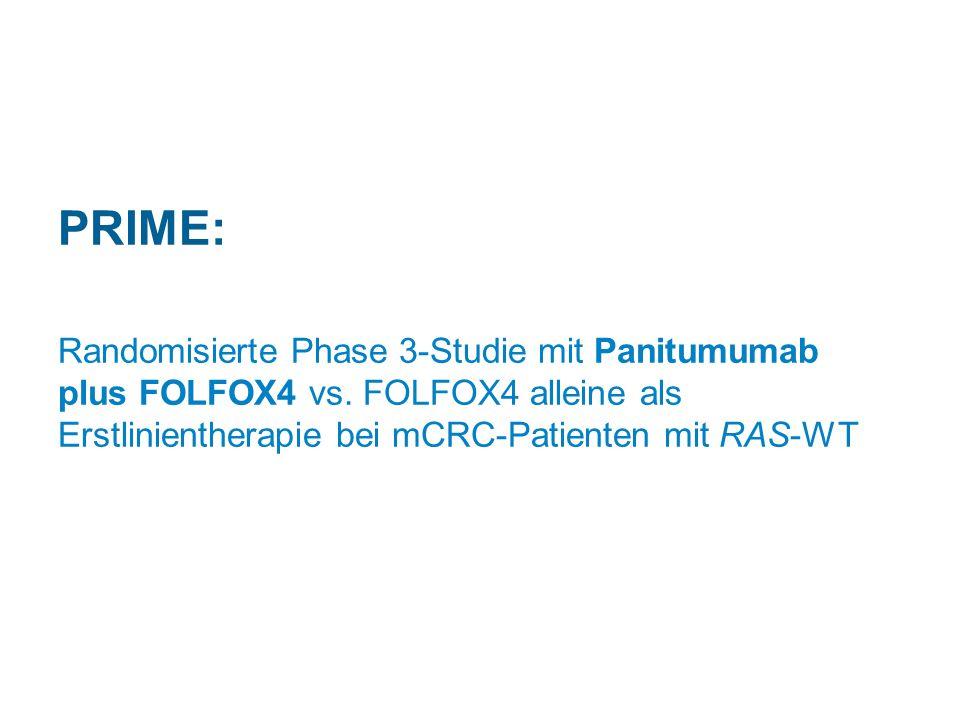 PRIME: Randomisierte Phase 3-Studie mit Panitumumab plus FOLFOX4 vs. FOLFOX4 alleine als Erstlinientherapie bei mCRC-Patienten mit RAS-WT