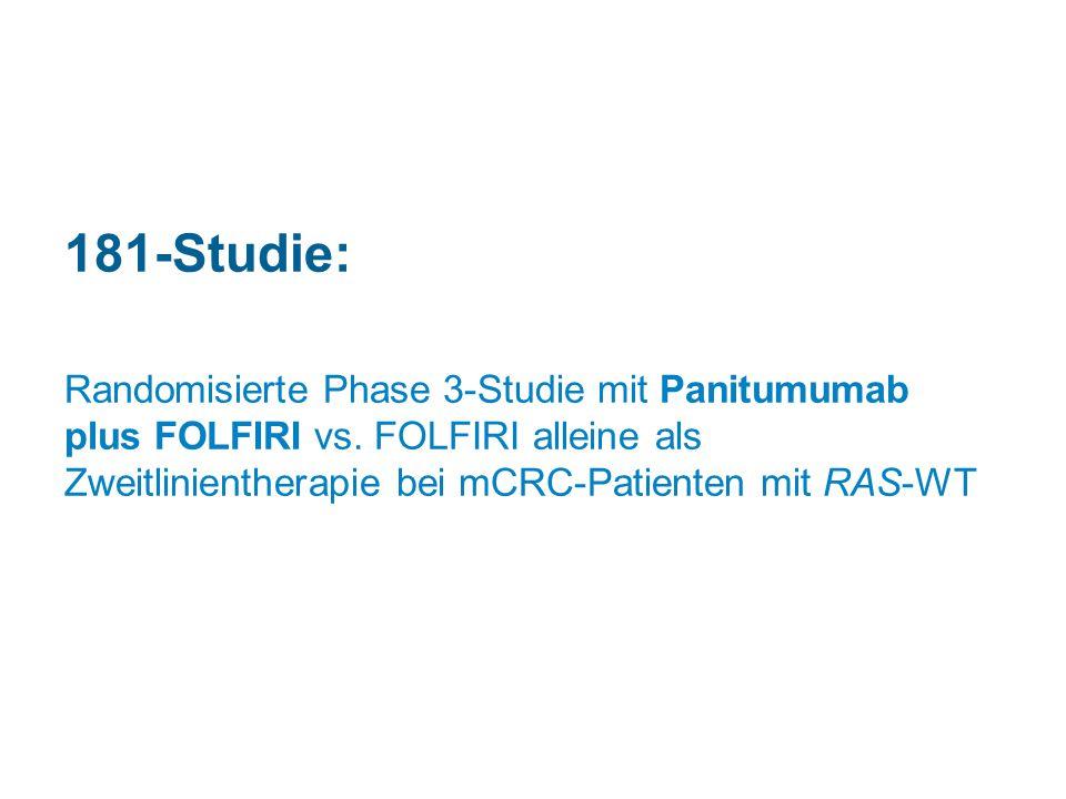 181-Studie: Randomisierte Phase 3-Studie mit Panitumumab plus FOLFIRI vs. FOLFIRI alleine als Zweitlinientherapie bei mCRC-Patienten mit RAS-WT