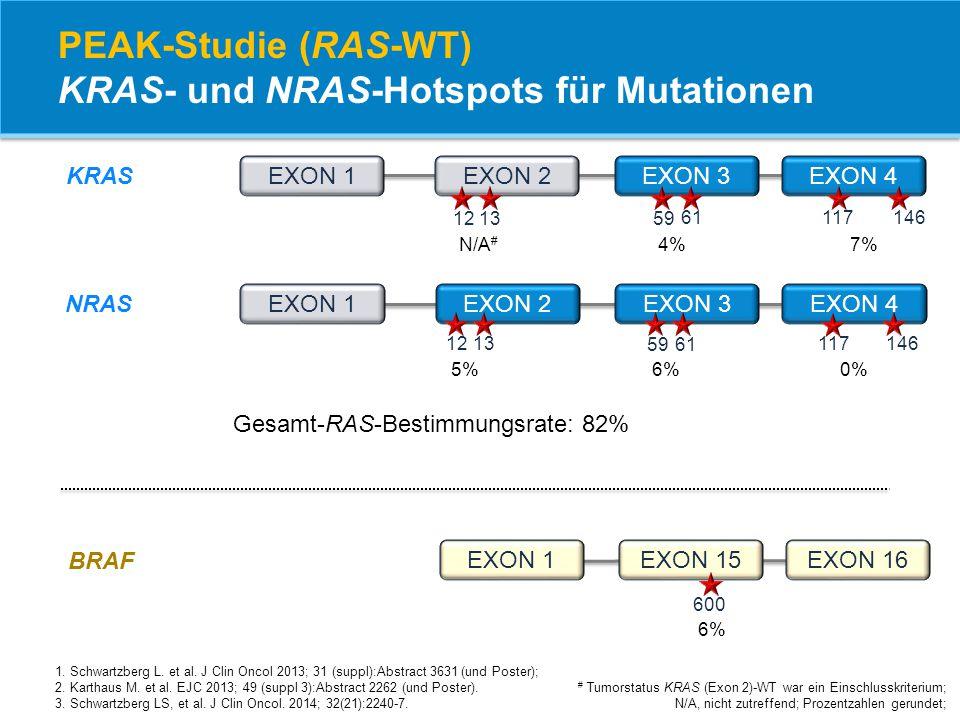 EXON 1EXON 15EXON 16 EXON 1EXON 2EXON 3EXON 4 EXON 1EXON 2EXON 3EXON 4 PEAK-Studie (RAS-WT) KRAS- und NRAS-Hotspots für Mutationen # Tumorstatus KRAS