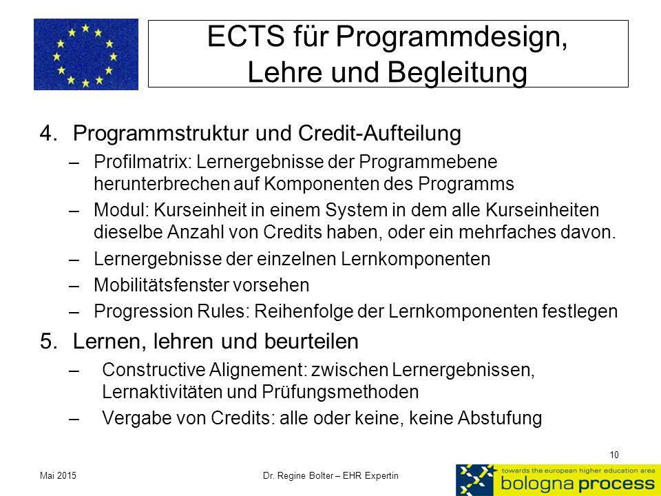 ECTS für Programmdesign, Lehre und Begleitung 4.Programmstruktur und Credit-Aufteilung –Profilmatrix: Lernergebnisse der Programmebene herunterbrechen