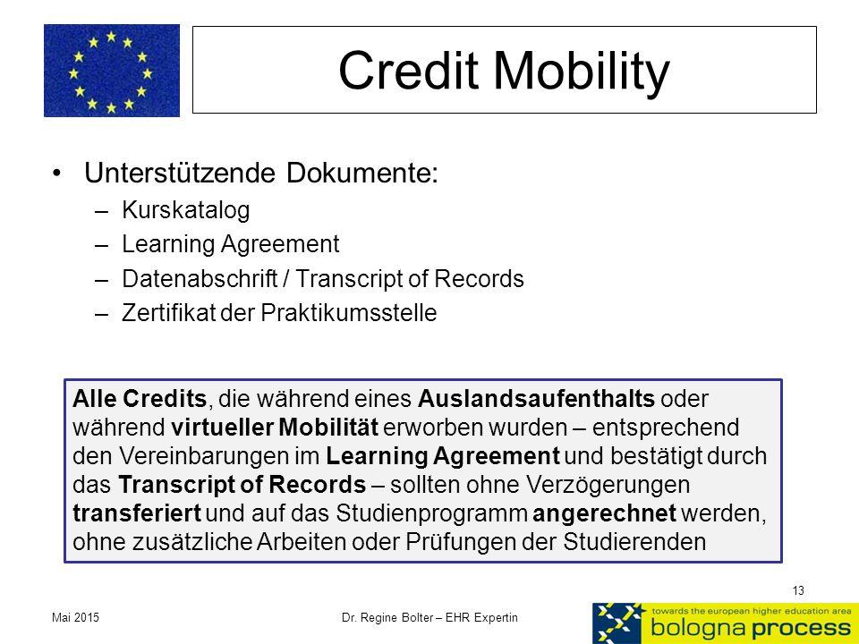 Credit Mobility Unterstützende Dokumente: –Kurskatalog –Learning Agreement –Datenabschrift / Transcript of Records –Zertifikat der Praktikumsstelle Ma