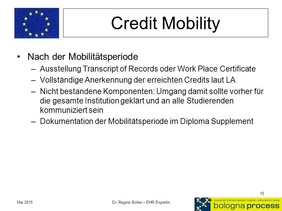Credit Mobility Nach der Mobilitätsperiode –Ausstellung Transcript of Records oder Work Place Certificate –Vollständige Anerkennung der erreichten Cre