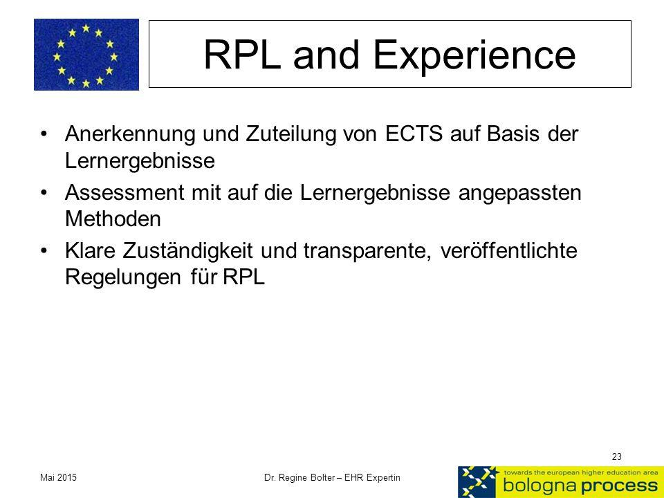 RPL and Experience Anerkennung und Zuteilung von ECTS auf Basis der Lernergebnisse Assessment mit auf die Lernergebnisse angepassten Methoden Klare Zu