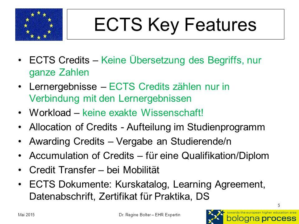 ECTS Key Features ECTS Credits – Keine Übersetzung des Begriffs, nur ganze Zahlen Lernergebnisse – ECTS Credits zählen nur in Verbindung mit den Lerne
