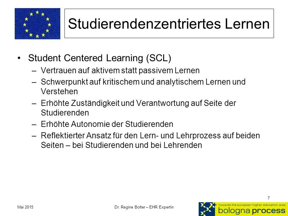 Studierendenzentriertes Lernen Student Centered Learning (SCL) –Vertrauen auf aktivem statt passivem Lernen –Schwerpunkt auf kritischem und analytisch