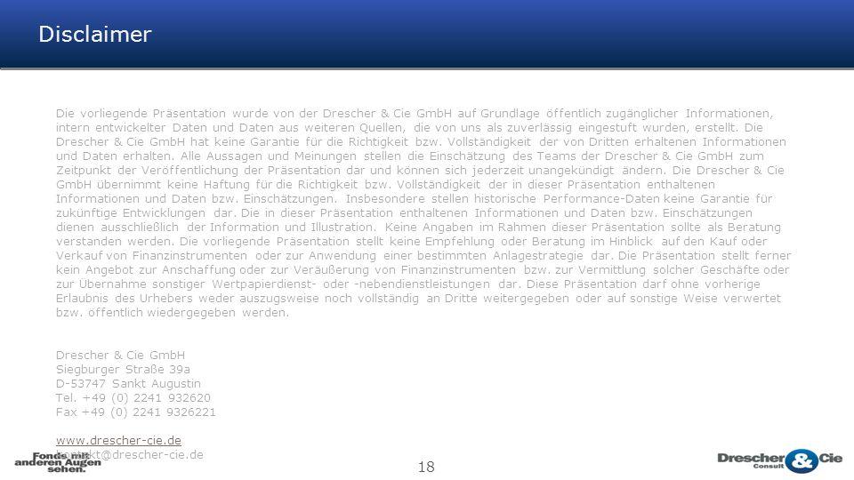 18 Disclaimer Die vorliegende Präsentation wurde von der Drescher & Cie GmbH auf Grundlage öffentlich zugänglicher Informationen, intern entwickelter