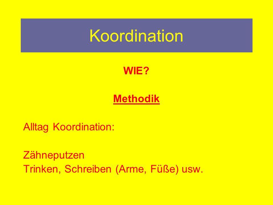 Koordination WIE.Methodik Laufen: vw, rw, sw Lauf A/B/C Spingen: einb.