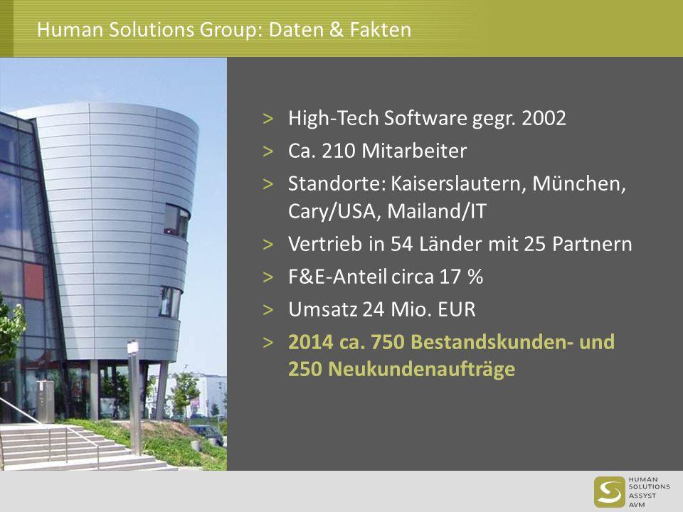 Human Solutions Group: Daten & Fakten >High-Tech Software gegr. 2002 >Ca. 210 Mitarbeiter >Standorte: Kaiserslautern, München, Cary/USA, Mailand/IT >V