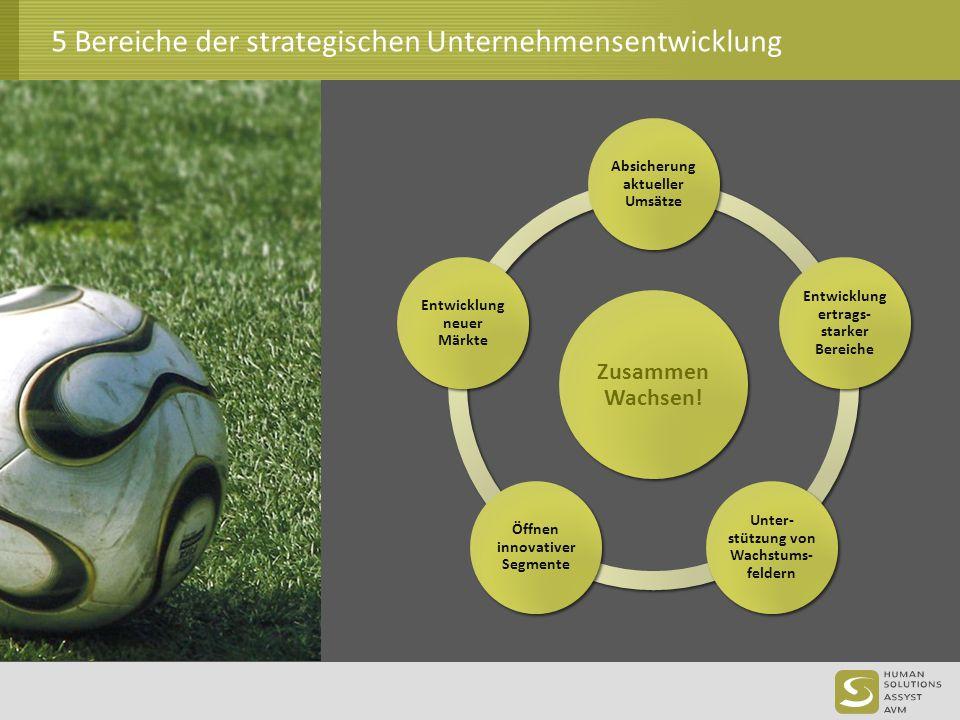 5 Bereiche der strategischen Unternehmensentwicklung Zusammen Wachsen! Absicherung aktueller Umsätze Entwicklung ertrags- starker Bereiche Unter- stüt