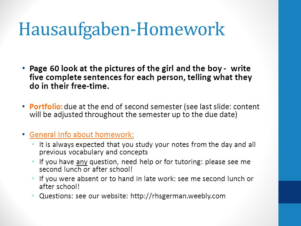 Hausaufgaben-Homework Page 60 look at the pictures of the girl and the boy - write five complete sentences for each person, telling what they do in their free-time.