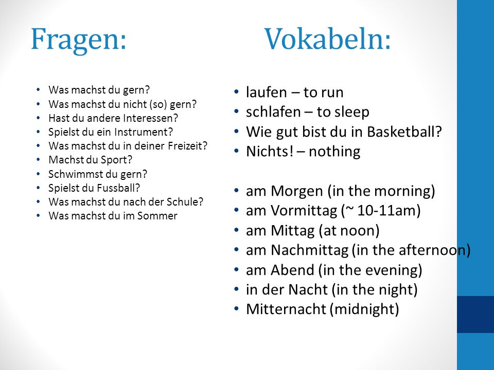 Sentence structure 1.place subject or time express 2 nd place – conjugated verb Ichschwimmegern.