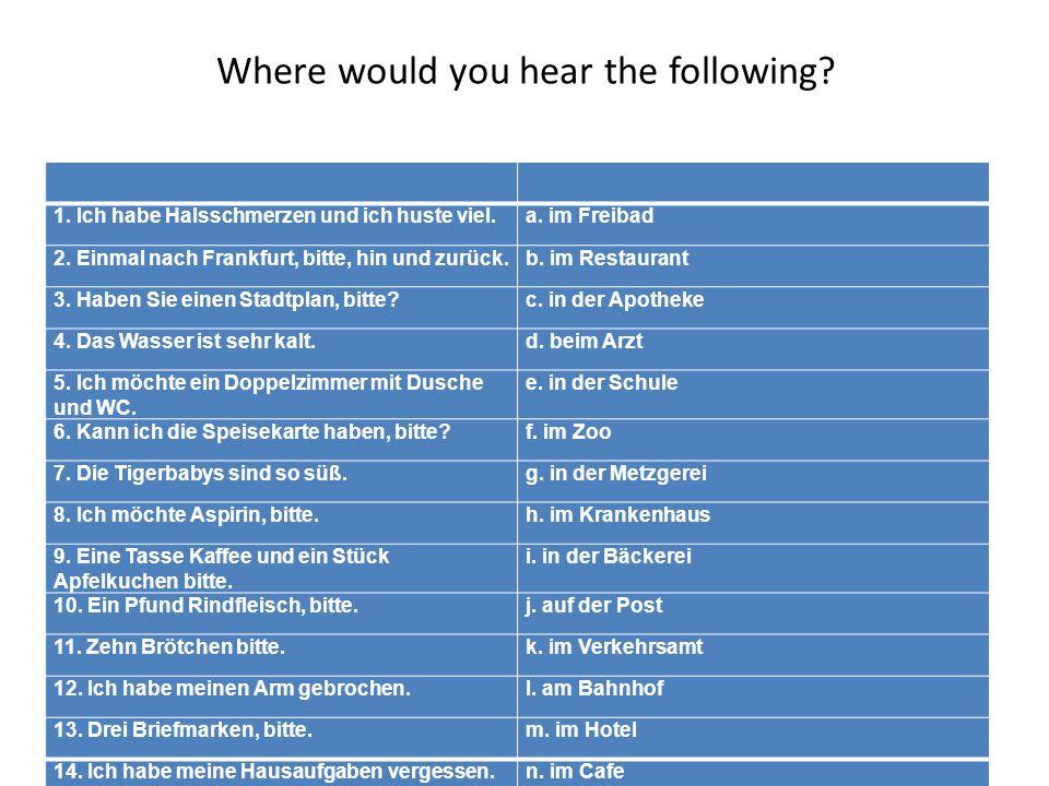 Where would you hear the following.1. Ich habe Halsschmerzen und ich huste viel.