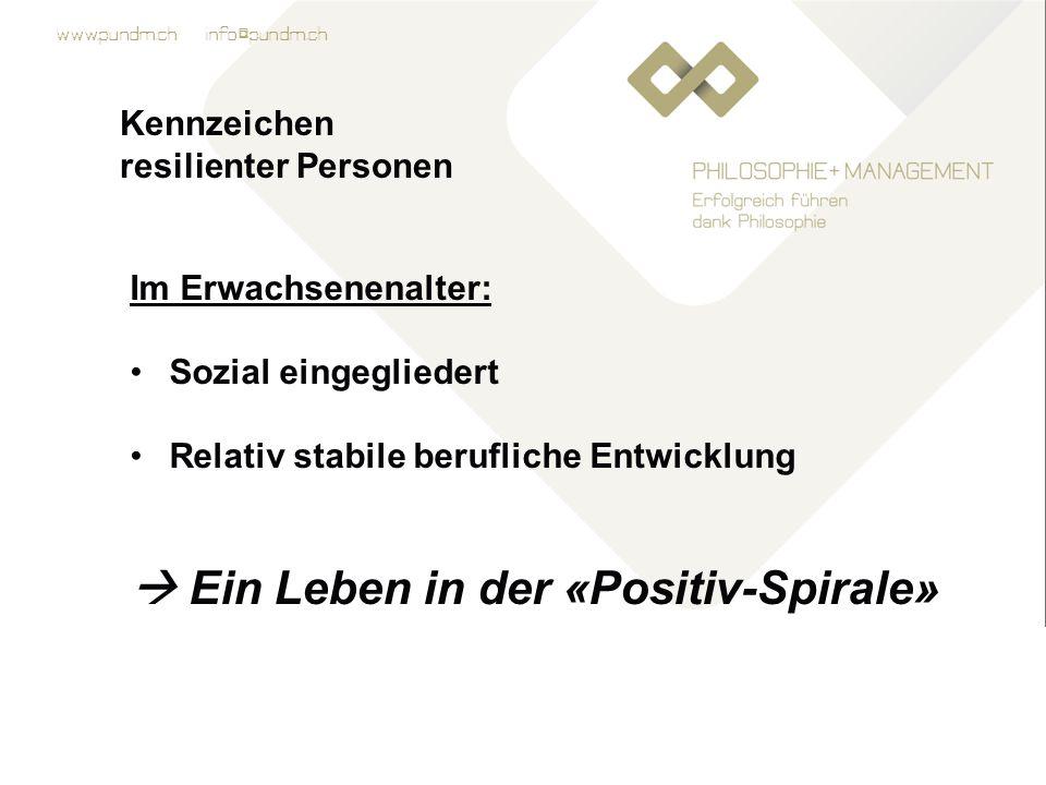 www.pundm.ch info@pundm.ch Kennzeichen resilienter Personen Im Erwachsenenalter: Sozial eingegliedert Relativ stabile berufliche Entwicklung  Ein Leben in der «Positiv-Spirale»