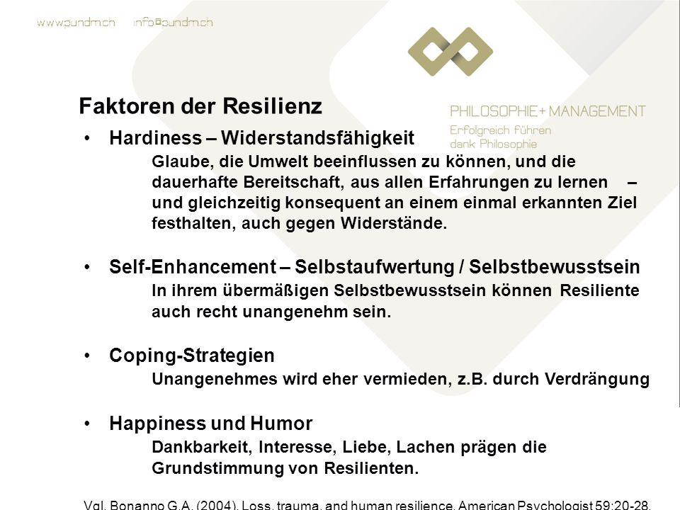 www.pundm.ch info@pundm.ch Faktoren der Resilienz Hardiness – Widerstandsfähigkeit Glaube, die Umwelt beeinflussen zu können, und die dauerhafte Bereitschaft, aus allen Erfahrungen zu lernen – und gleichzeitig konsequent an einem einmal erkannten Ziel festhalten, auch gegen Widerstände.