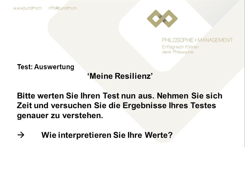 www.pundm.ch info@pundm.ch Test: Auswertung 'Meine Resilienz' Bitte werten Sie Ihren Test nun aus.