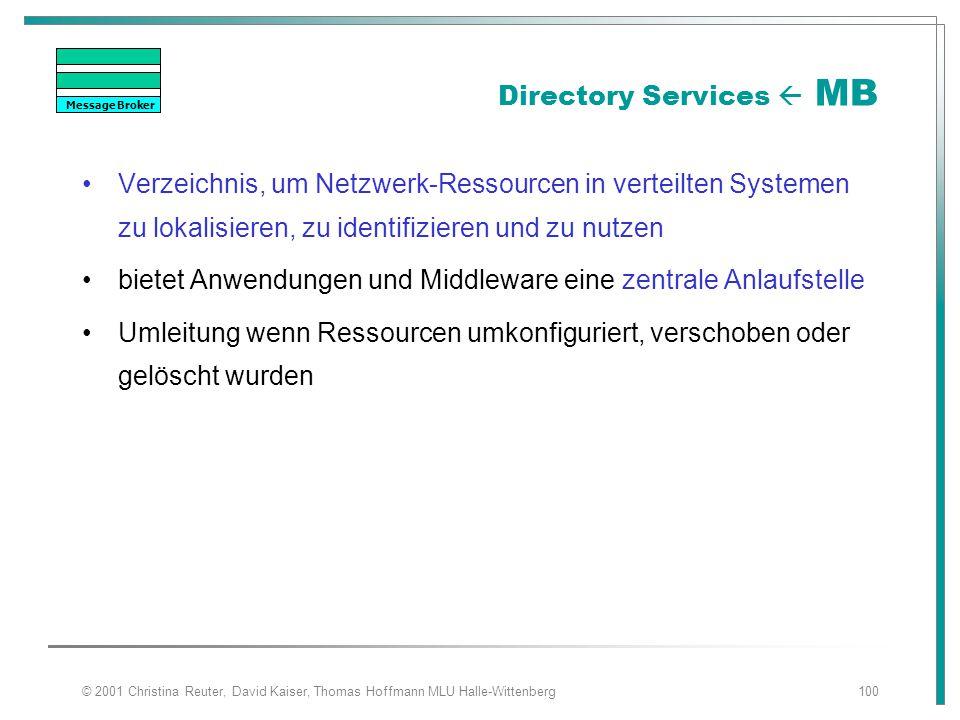 © 2001 Christina Reuter, David Kaiser, Thomas Hoffmann MLU Halle-Wittenberg100 Directory Services  MB Verzeichnis, um Netzwerk-Ressourcen in verteilt