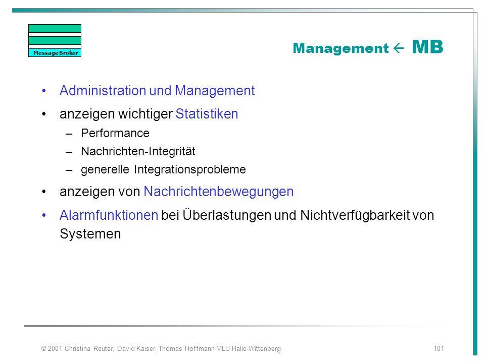 © 2001 Christina Reuter, David Kaiser, Thomas Hoffmann MLU Halle-Wittenberg101 Management  MB Administration und Management anzeigen wichtiger Statis