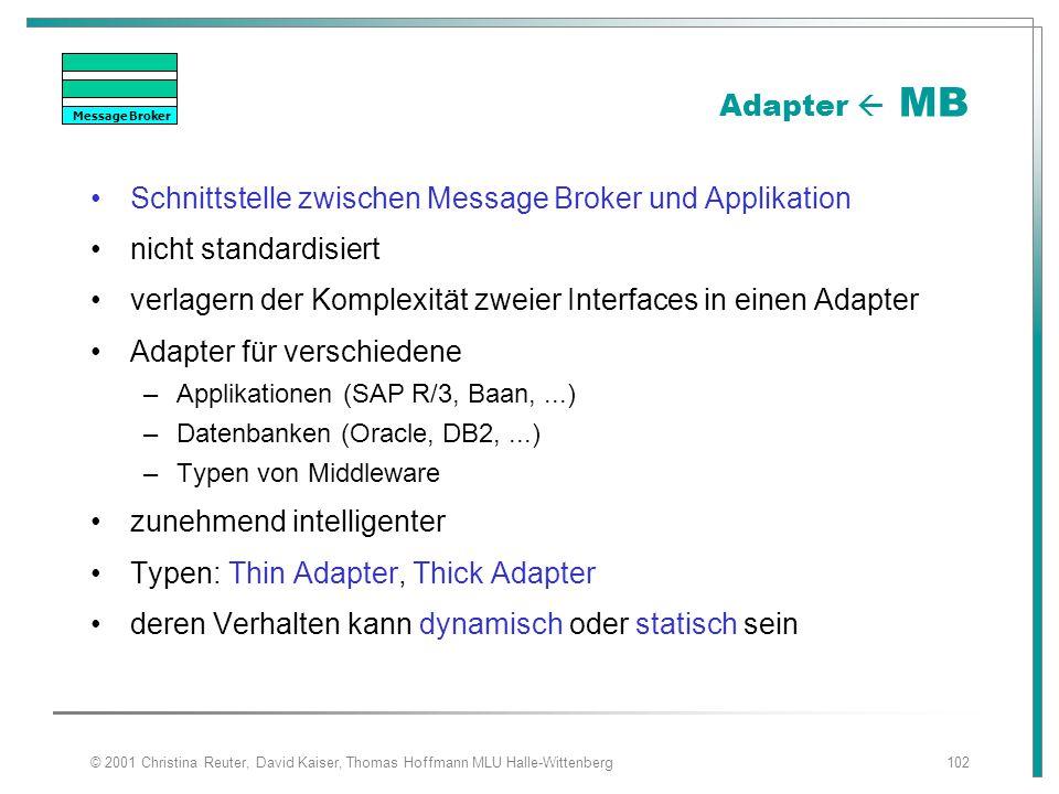 © 2001 Christina Reuter, David Kaiser, Thomas Hoffmann MLU Halle-Wittenberg102 Adapter  MB Schnittstelle zwischen Message Broker und Applikation nich