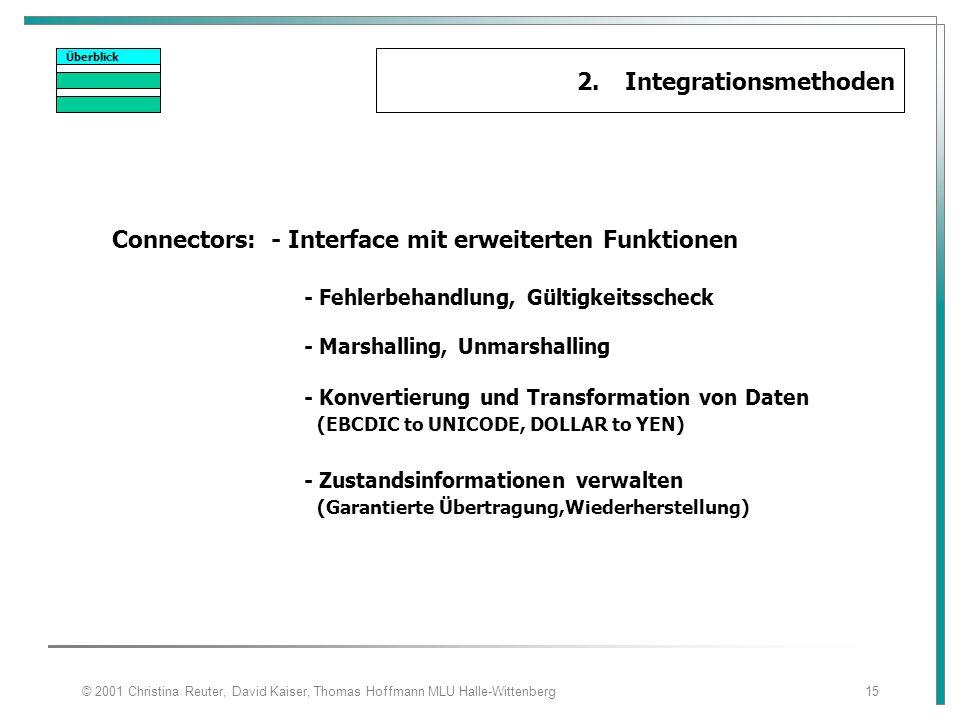 © 2001 Christina Reuter, David Kaiser, Thomas Hoffmann MLU Halle-Wittenberg15 Überblick 2.Integrationsmethoden Connectors: - Interface mit erweiterten