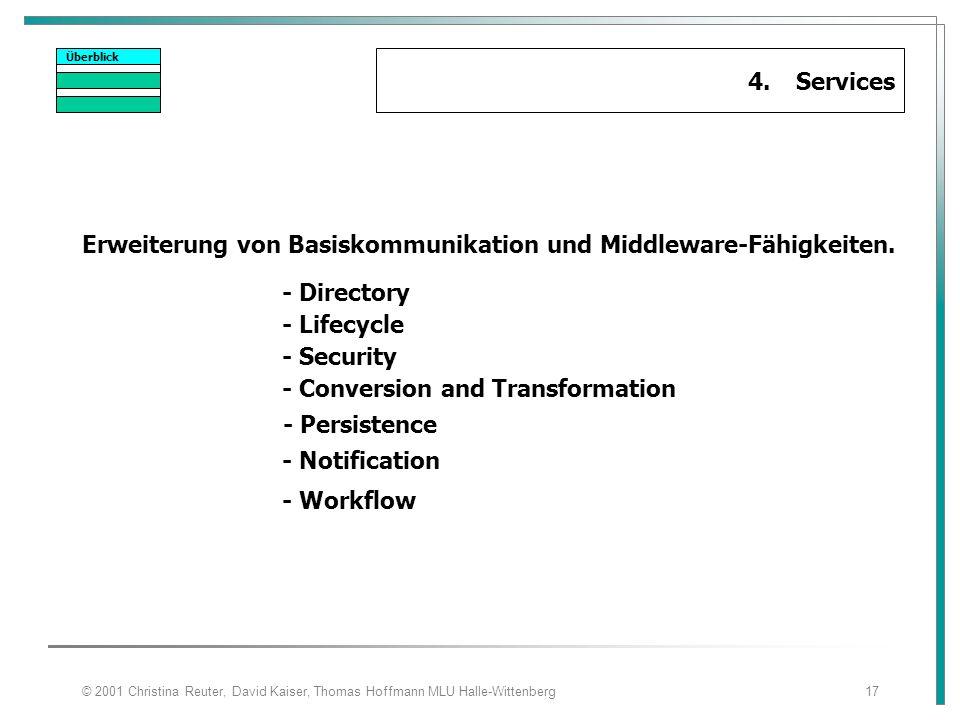 © 2001 Christina Reuter, David Kaiser, Thomas Hoffmann MLU Halle-Wittenberg17 Überblick 4.Services Erweiterung von Basiskommunikation und Middleware-F