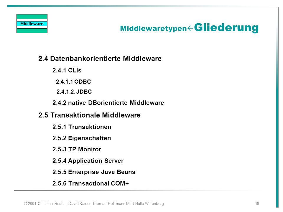 © 2001 Christina Reuter, David Kaiser, Thomas Hoffmann MLU Halle-Wittenberg19 Middlewaretypen  Gliederung 2.4 Datenbankorientierte Middleware 2.4.1 C