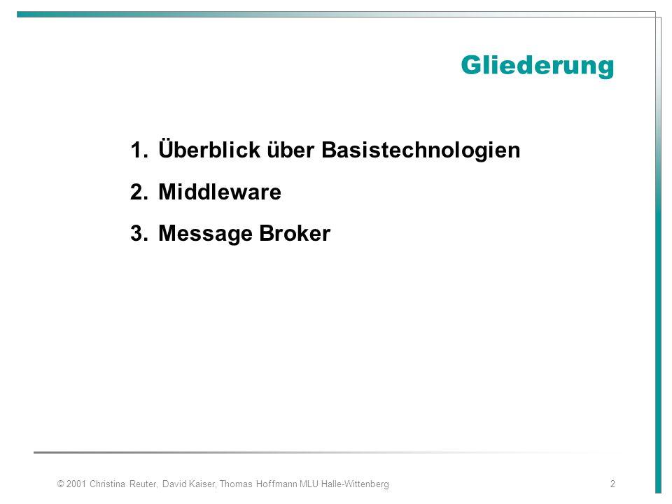 © 2001 Christina Reuter, David Kaiser, Thomas Hoffmann MLU Halle-Wittenberg2 Gliederung 1.Überblick über Basistechnologien 2.Middleware 3.Message Brok