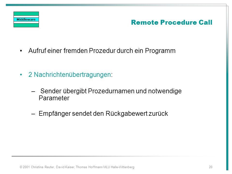 © 2001 Christina Reuter, David Kaiser, Thomas Hoffmann MLU Halle-Wittenberg20 Remote Procedure Call Aufruf einer fremden Prozedur durch ein Programm 2