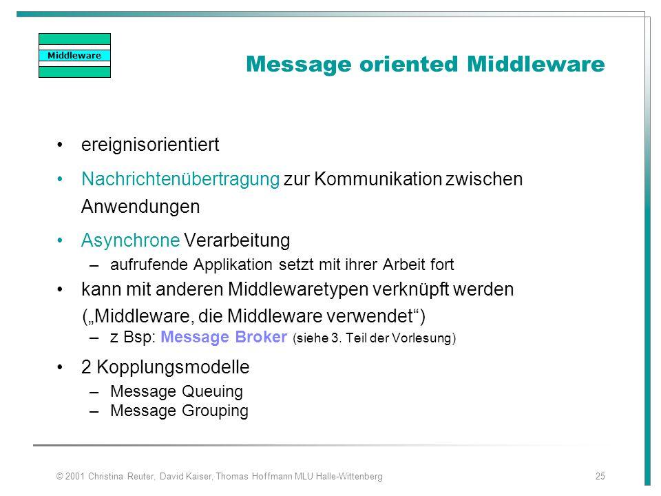 © 2001 Christina Reuter, David Kaiser, Thomas Hoffmann MLU Halle-Wittenberg25 Message oriented Middleware ereignisorientiert Nachrichtenübertragung zu